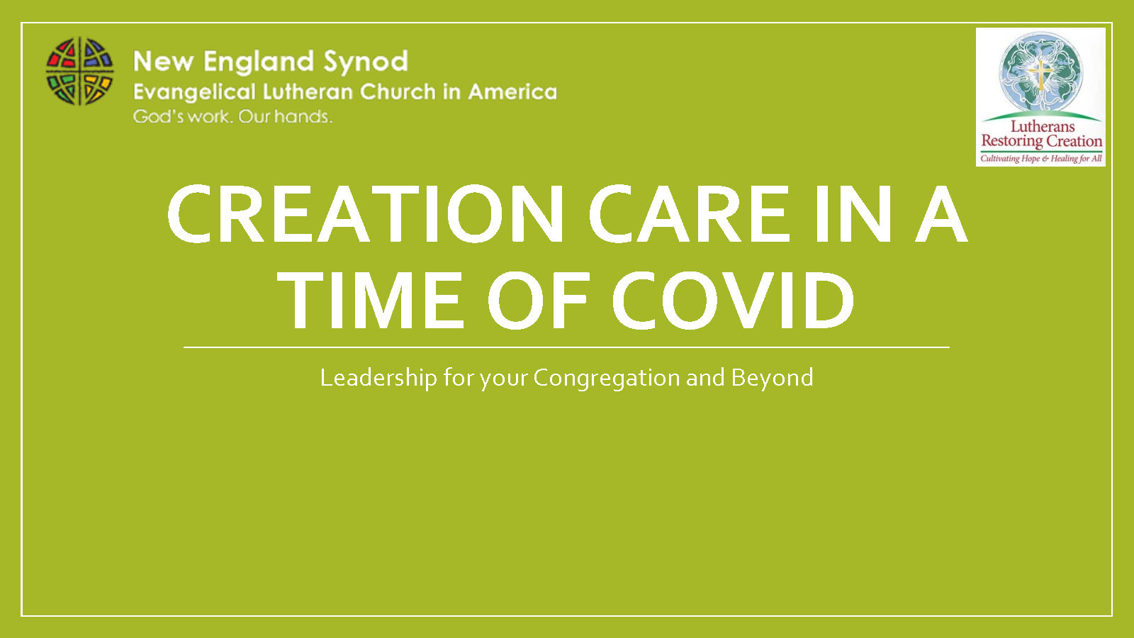 2020 05 18 Creation Care in a time of COVID cover